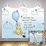 Classic Winnie The Pooh Backdrop Baby Shower Light Blue Hot Air with White Clouds Backgrounds Boy Girl 1st Birthday Butterfly Party Decoration 7x5ft