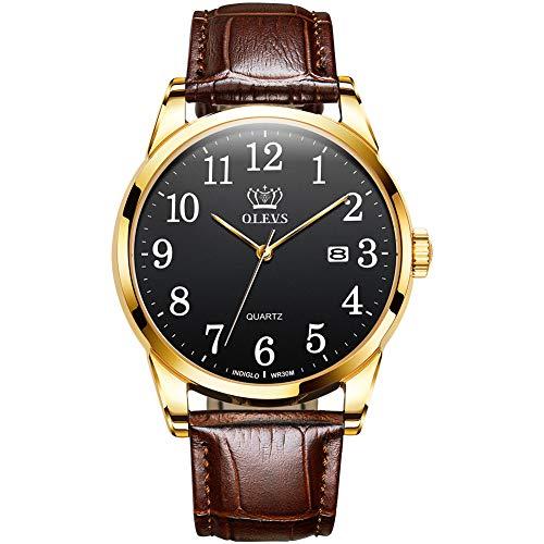 Reloj de pulsera unisex fácil de leer, impermeable, ultrafino, minimalista, correa de piel marrón, 38 mm, brazalete informal clásico, cuarzo, analógico, deportivo, para hombre,...