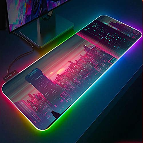 Sunset City Wallpapers RGB Gaming Mouse Pad XXL Mini Desk Laptop with USD Socket LED Gaming Carpet Pad Desk Pink Gaming Desk A 39.4x19.7in