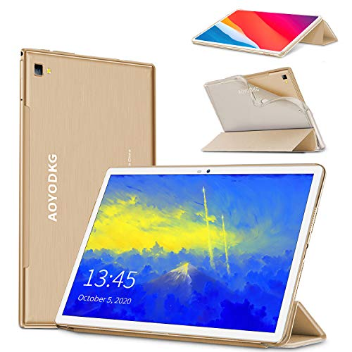 Tablet 10.1Pollici 8-Core Tablet PC Android 9.0 Pie, Google GMS certificato,4GB RAM 64 256GB ROM, FHD 8000mAh Dual 4G LTE Call Sim Con WIFI Tablets Support Gaming Type-C Netflix APK Bluetooth GPS-Oro