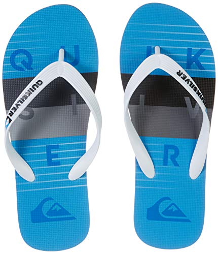 Quiksilver Molokai Word Block-Flip-Flops For Men, Chanclas Hombre, Blanco, Gris y Azul, 44 EU