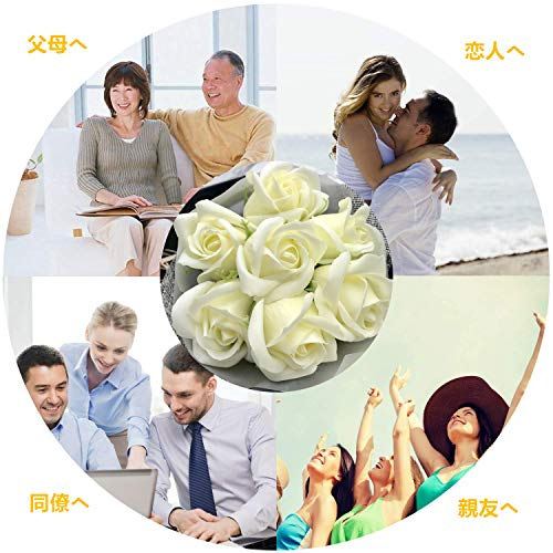 Aoitori ソープフラワー フラワーデコレーション (薄黄色バラ)