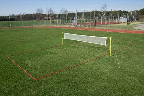 RomiSport Badminton komplettes Netz + Pfosten + Feldmarkierung Courtline einstellbar max. 6,15 x 13,4 m, Rasen Sand Set für den Freizeitgebrauch für den Garten