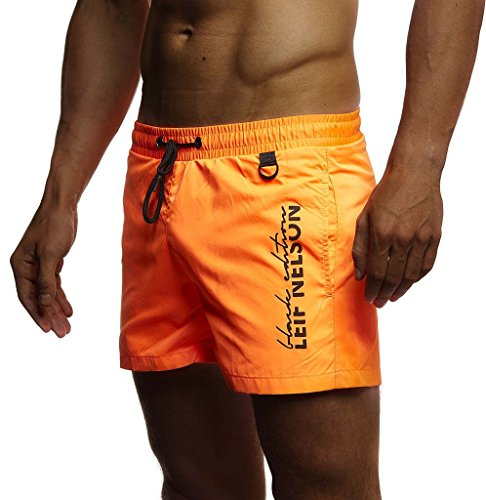 Leif Nelson Herren Sommer Badehosen Badeshorts Schwimmhose Schwimmshorts Beachshorts Strand Shorts Kurze Hosen Freizeithosen Jogginghose Cargo Hose Bermuda Chino LN9215; Medium; Orange