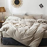 MooMee Bedding Duvet Cover Set 100% Washed Cotton Linen Like Textured Breathable Durable Soft Comfy (Tannish Linen Grey, King)