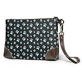 Lawenp Cartera de mano, bolsos de mano para mujer, bolsos de mano con huella de perro y gato de pata para mujeres y niñas
