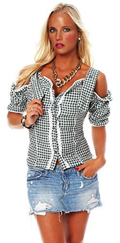 Fashion4Young Damen Dirndlbluse Bluse Trachtenbluse Dirndl Trachten Oktoberfest Lederhose Trachtenmieder (34, Grün)