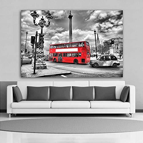 BUHUAZXM stad landschap rode auto moderne decoratie canvas schilderij muurkunst foto's voor woonkamer 28x42 Inch Geen frame.