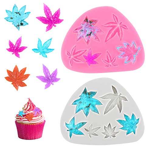 2 Pieces Leaf Cake Fondant Mold 3D Leaf Silicone Mold Maple Leaves Theme Cake Topper Decoration Mold for Chocolate Candy Sugar Craft Gum Paste Polymer Clay