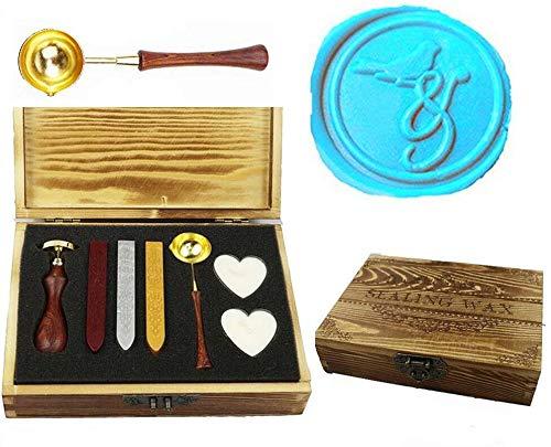 MNYR Vintage Bird On & Sealing Wax Seal Stamp Kit Smelting Lepel Wax Stick Kaars Houten Boek Geschenkdoos Set Bruiloft Uitnodiging Versiering Vakantiekaart Geschenkverpakking Geschenk Idee Seal Stamp Set