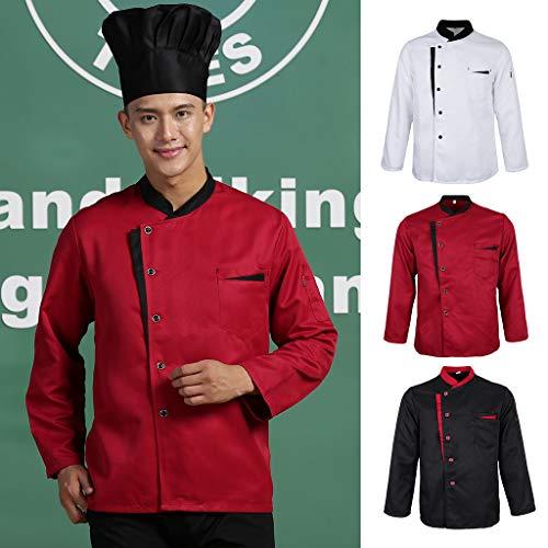 F Fityle Männer Frauen Kochjacke Langarm M-3XL Bäcker Kochhemd Bäckerjacke Kochbekleidung Gastronomie Arbeitskleidung Arbeitsjacke – Schwarz, L - 2