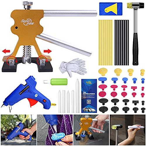 Super PDR Dellen Reparaturset, Lackfreies Ausbeulwerkzeug mit Goldener Dellenheber, Klebestift und Klebepistole, für Entfernung von Metalloberflächenbeulen und Hagelschaden Delle, 56pcs