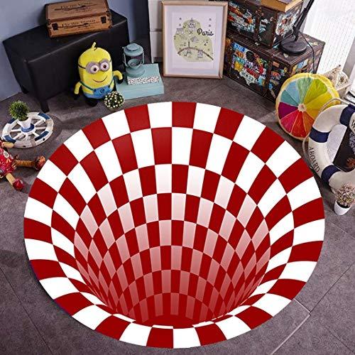 Rund Bereich Teppich, Nordic Teppiche Soft 3D Printed Vorleger Vortex Mat Teppiche Anti-Rutsch Großen Teppich Teppich for Wohnzimmer-Dekor (Color : #1, Size : 100cm/39'')