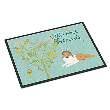 Caroline's Treasures Welcome Friends Collie Indoor Or Outdoor Doormat, 18hx27w, Multicolor