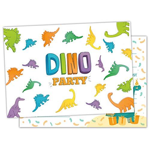 Pandawal 12x Einladungskarten Kindergeburtstag Dinosaurier für Junge und Mädchen Dino Party Motiv perfekte Einladung für Geburtstag Motto-Party Ausflug Kinderparty