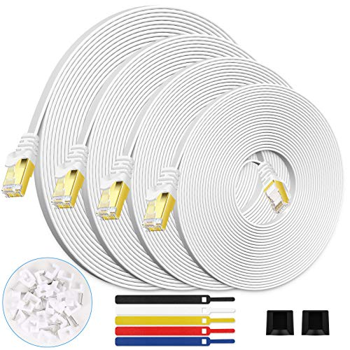 CAT7 Shielded Ethernet Cable 100FT White with Barrier-Free RJ45 Connector for modems, routers, LAN, Computers, Flat Network Cable high Speed Cable Distribution Cable Clips -(100 feet White)