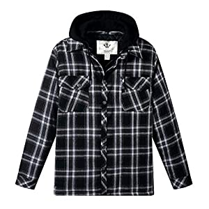 Men's Thicken Plaid Flannel Quilted Shirts Jacket with Removable Hood...