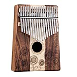 Marimbas Thumb Piano Carimba Music Gift Sunflower Style Thumb Piano 17-Tone Beginner Two-Finger Keyboard Instrument (Color : Brown, Size : 14418cm)