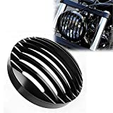 HTTMT MT406- Black Aluminum 5 3/4' Headlight Grill Cover Compatible with 2004-2014 Harley Sportster XL 883 1200
