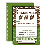 Football Touchdown Thank You Notes for Boys, Ten 4' x 5.5' Fill In The Blank Cards with 10 White Envelopes by AmandaCreation