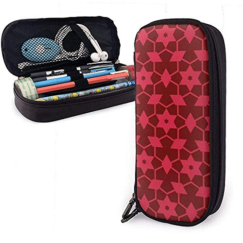 Red Star Diamond Pattern PU Ledertasche Aufbewahrungstaschen Tragbare Student Bleistift Büro Schreibwaren Tasche Reißverschluss Brieftaschen Make-up