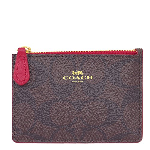 [コーチ] COACH 財布 (コインケース) F16107 ブラウン×トゥルーレッド IML72 レザー コインケース レディー...