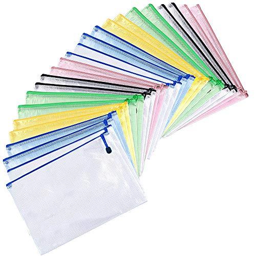 MNEUSHOP 24 Pcs Mesh Zipper File Bag A4 Plastic Wallets Folder A4 Document Folders Ziplock Bag Semitransparent Storage Bag Paper Organization for Office School Home Travel Pink Blue Green Yellow Black