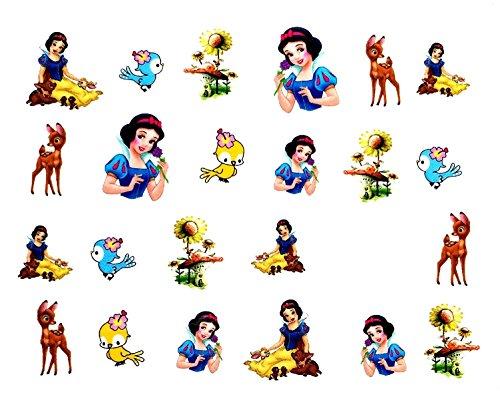 CartoonPrintDesign - 2 Stück Nagel Sticker Cartoon Water Transfer Sticker Nailart Wasser Nagelsticker Nagel Tattoo Nagelaufkleber Schneewitchen Design - B1974