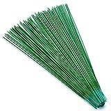 100 piezas de alambre de tallo floral de 25,4 cm, calibre 18, alambre de tallo verde oscuro para flores, alambre floral premium para manualidades, arreglos florales de floristería( 25 cm)