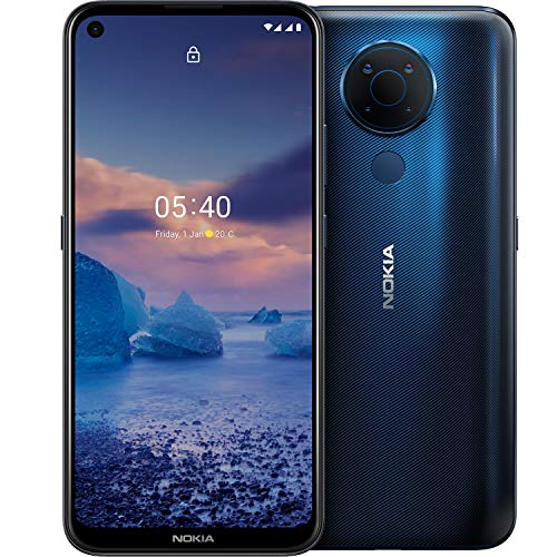 Nokia 5.4 Smartphone mit 6,39-Zoll-HD+-Display, 4 GB RAM, 128 GB Speicher, 48-MP-Vierfach-Kamera, Qualcomm Snapdragon 662, 2 Tagen Akkulaufzeit und Android-Upgrades, Dual-SIM - Polar Night