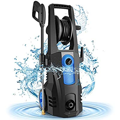Power Washer, TEANDE Pressure Washer 3500PSI Electric High Pressure Washer 1800W Professional Car Washer Cleaner Machine with Hose Reel,4 Nozzles for Patio Garden Yard Vehicle (Blue)