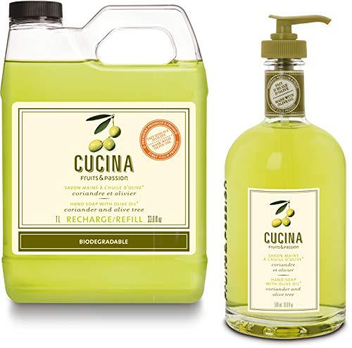 Fruits & Passion [Cucina] - Coriander & Olive Tree, Kitchen Liquid Hand Soap, Vegan-Friendly, Moisturizing Hand Wash in Glass Hand Soap Dispenser (16.9 fl oz) and Refill (33.8 fl oz)
