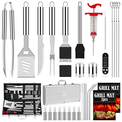 ROMANTICIST 31pcs Stainless Steel Grill Tool Set, Heavy Duty BBQ Grilling Accessories for Men Women,...