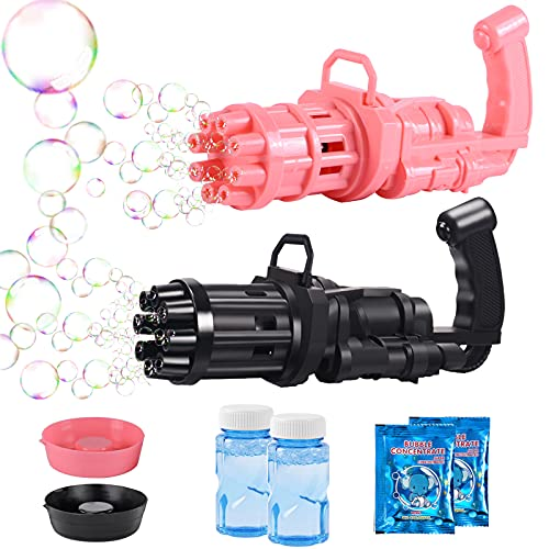 2021Gatling Bubble Machine for Kids,8-Hole Automatic Bubble Maker Machine,Kids Bubble Gun Outdoor Toys for Boys and Girls, Best Summer Gifts for Kids (Black 1p+Pink 1p)