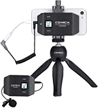 Comica CVM-WS50(C) Wireless Smart Phone Microphone, with UHF 6 Channels, Integrated Smartphone Holder, 194FT Wireless Range, Built-in Chargable Battery, Microphone for iPhone Samsung Huawei and More