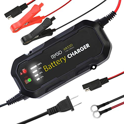 LINGSFIRE Smart Battery Charger 12V 1500mA Automatic Battery Charger Maintainer Car Battery Charging Units with Alligator Clips O-Ring Connectors LED Charging State Lights for RVs ATVs Motorcycle