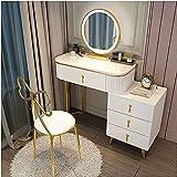 Moderno juego de tocadores, tocador de maquillaje de dormitorio con espejos, malla nórdica y taburete,White