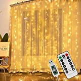 Cortina de luces LED 3x2 m, 200 LED USB resistente al agua IP65 luz blanca cálida, cortina de cadena de luces con 8 modelos de luz y 4 modos de control de música para dormitorio decoración de interior
