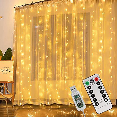 LED Lichtervorhang 3Mx3M, 300 LED USB Lichterkettenvorhang Vorhang, IP65 Wasserfest Lichterkette Warmweiß 8 Modi Lichterkette Vorhanglichter String Light für Schlafzimmer Deko