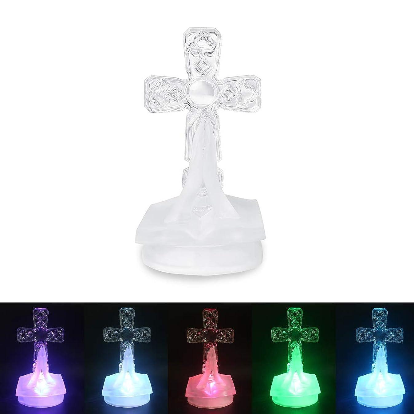 ARTITAN Decoration Lights Crystal Cross Figurine 6in Length LED Lamp for Home Office Bedroom Decor