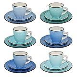 CREOFANT · Servicio de café de 18 piezas · Tazas de gres · Servicio de café para 6 personas · Tazas de café Posavasos Plato de postre · Vajilla de gres · Servicio de café pintado a mano · Vaso (azul)