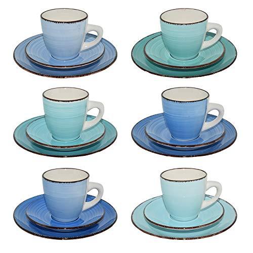 CREOFANT · Kaffeeservice 18 teilig · Steingut Tassen · Kaffee Tee Gedeck für 6 Personen · Kaffeetassen Untersetzer Dessertteller · Steingut Geschirr · handgemaltes Kaffeeservice · Trinkbecher (blau)