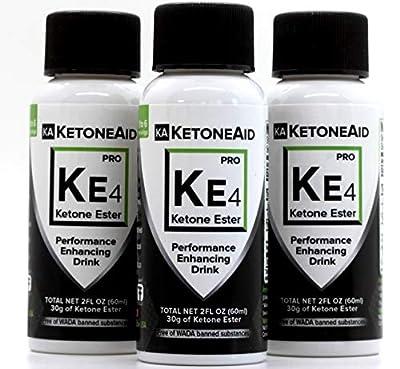 KetoneAid KE4 World's Strongest Ketone Ester Drink, 30g Exogenous D BHB. Not a Salt. Sugar Free, Caffeine Free. (3 Count)