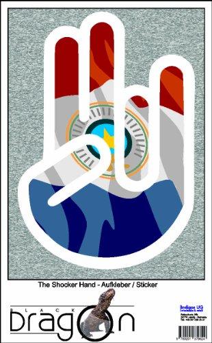 THE SHOCKER HAND - Wandtattoo / Wandaufkleber/ Aufkleber - weißer Umriss mit Fahne / Flagge - Paraguay-Paraguay 100 cm