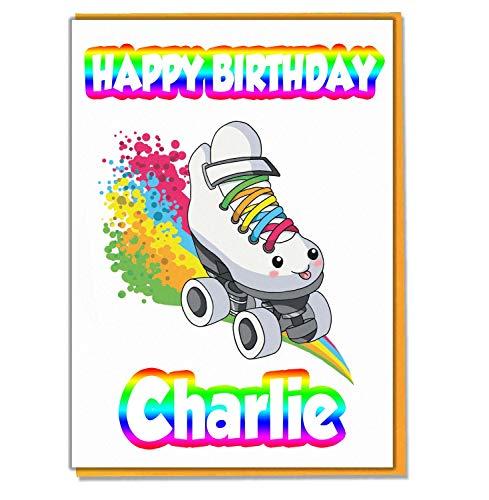 AK Giftshop Personalisierte Geburtstagskarte mit Regenbogen-Rollschuh-Motiv, personalisierbar