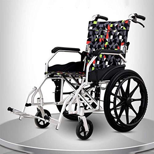 AOLI Aluminiumlegierung Rollstuhl, Leichtklapp Rollstuhl, mit Eigenantrieb Rollstuhl, faltbare Rollstuhl, Geeignet für Menschen mit Behinderungen, Senioren, Schwarz,Schwarz