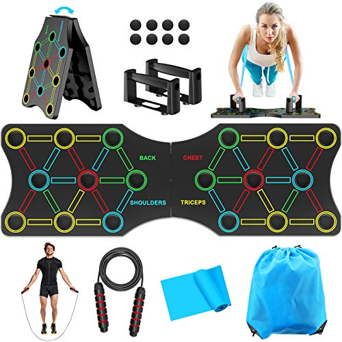TAKRINK Push-up Board 19 in 1 Attrezzature Multifunzione per l\'Home Workout Fitness Telaio Portatile per l\'allenamento Push-up con Fascia di Resistenza, Impugnature Push-up e Salti di Corda