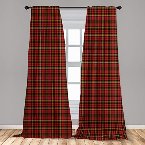 Lunarable Plaid Curtains, Classical Celtic Fashion Tartan Checks and Stripes Cultural Folk Inspiration, Window Treatments 2 Panel Set for Living Room Bedroom Decor, 56' x 84', Yellow Black