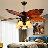 Tropical Ceiling Fan with Light 52-Inch Chandelier Fan with 5 Wood Blades, Home...
