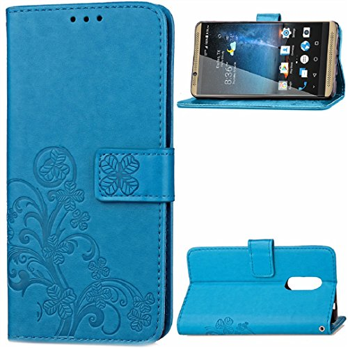 ZTE Warp7 Grand X3 Z959 N9519 Wallet Stand Case, Knurling Flower Grass Cover[Hand Sling Money Credit Card ID Slots] TAITOU Soft TPU + PU Leather Ultralight Phone Case For ZTE Warp 7 Blue